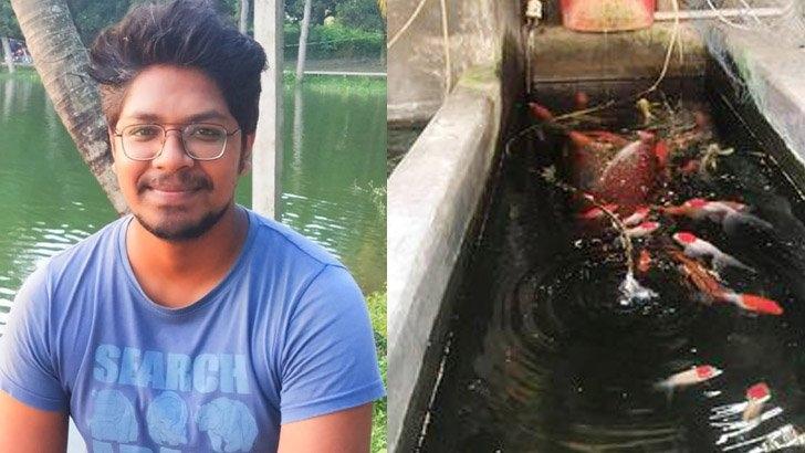 রঙিন মাছ চাষে জগন্নাথ বিশ্ববিদ্যালয় ছাত্রের সফলতা